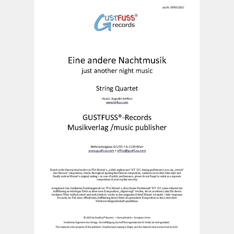 Just Another Night Music (string quartet) - music sheets download